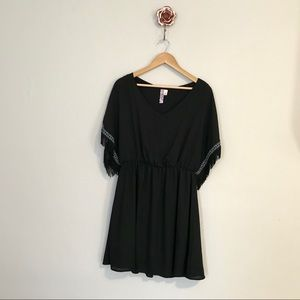 Anthropology Alya Black Fringe Sleeve Dress